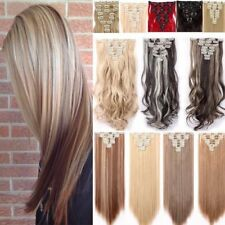 US Real Long 100% Natural Extensions Clip in HAIR EXTENTIONS Full Head Human P95
