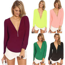 Sexy Women's V-NECK Loose Long Sleeve Chiffon Casual T Shirt Tops Blouse