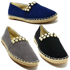 Women Faux Suede Studded Espadrille, Slip-on Loafers Flats Shoes