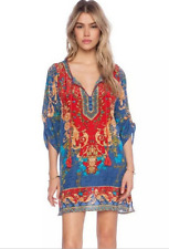 Sexy Women Bohemian Dresses Neck Tie Vintage Printed Ethnic Style Summer Clothes