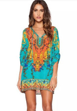 Sexy Women Bohemian Dresses Neck Tie Vintage Printed Ethnic Style Summer Blouse