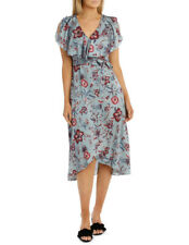 NEW Leona by Leona Edmiston Winter Floral Flutter Sleeve Wrap Dress Assorted