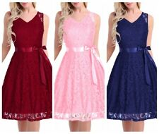 Women's V Neck Lace Evening Formal Party Dress Bridesmaid Prom Gown Maxi Dress