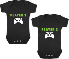 XBOX PLAYER 1/PLAYER 2 Funny Bodysuits/Grows/Vests Newborn Gift Baby Shower TWIN
