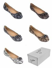 Women Snakeskin Design Ballerina Flats, Slip-Ons Shoes with Chain Link Buckle