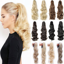 Real Natural Jaw Clip In Hair Extensions Claw On New Thick Ponytail Fake Hair PO