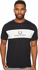 Fred Perry Mens Panel Embroidered T-Shirt, Navy
