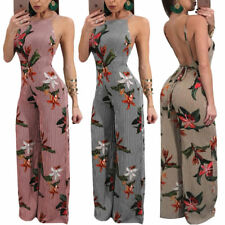 Women Sexy Backless Striped Floral Wide Leg Jumpsuit Sleeveless Romper Playsuit