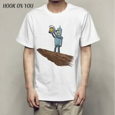 Hot Mens Robot Funny Role Print Short Sleeve T-shirt  Mans Hiphop Casual Tees