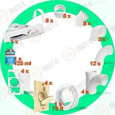 Central Vacuum Almond 4-Inlet Installation Kit and White Vacpan-Easy to install!