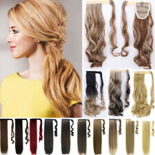 Silky Natural Clip in Ponytail Hair Extensions Wrap on Pony tail Hairpiece P41