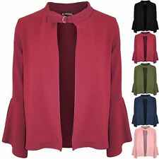 Womens Ladies Open Front Frill Sleeve Short Blazer Cardigan Buckle Jackets Coats