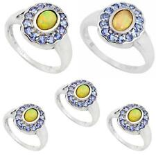 Natural multi color ethiopian opal 925 sterling silver ring 7072B