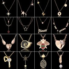 Fashion Stainless Steel Hollow Bee Butterfly Heart Lock Choker Pendant Necklace