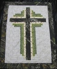 "Log Cabin Cross Quilt Top~ PIECED~PATCHWORK ""Camouflage"" Baby,Wall, Lap 30X40"