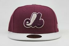 Montreal Expos Deep Maroon 6 Light Bone Sandstone MLB New Era 59Fifty Fitted Hat