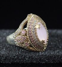 925 STERLING SILVER HANDMADE TURKISH JEWELRY PINK CHALCEDONY LADY RING