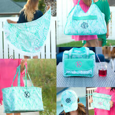 PERSONALIZED MONOGRAM POOLSIDE PALM ROUND BEACH TOWEL COOLER TOTE BASEBALL CAP