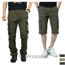 Mens Zip Off Leg Quick Dry Detachable Outdoor Hiking Cargo Work Pants Trousers