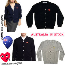 Original Comme Des Garcons Men V-neck Sweater CDG PLAY Women Oversize Coats