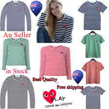 Men's Women Classic  COMME DES GARCONS CDG Stripe Long Short Sleeve Play T-shirt