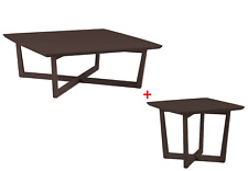 MUTO Coffee Table & Lamp Table Walnut Design Ash Timber Square