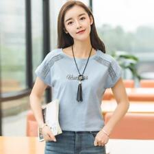 Women Casual Hollow Out Solid Batwing Sleeve Loose T-Shirt UTAR