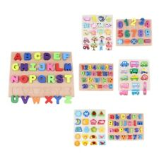 Baby Wooden Puzzle Jigsaw Early Number Math Alphabet Spelling Developmental Toy