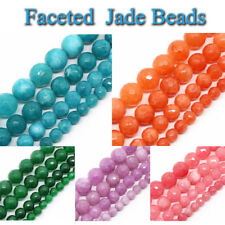 """Faceted Jade Stone Beads for Jewelry Making 15"""" Blue Pink Green Jewelry Beads"""