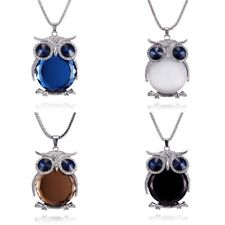 Women Rhinestone Crystal Pendant Owl Animal Long Chain Sweater Necklace Jewelry