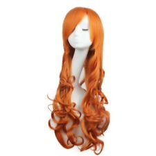 Women Wigs Long Wavy Curly Cosplay Party Fashion Wig Heat Resistant Orange Color