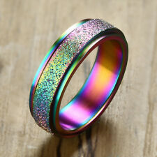 6MM Rainbow Color Wedding Ring Frosted Spinner Band Stainless Steel US Size 7-12