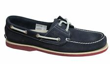 Timberland EK 2 Eye Lace Up Navy Blue Leather Womens Boat Shoes 6305A WH