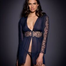 BNWT Agent Provocateur Soiree Willa Top Dress Gown Lingerie Lace Silk Navy