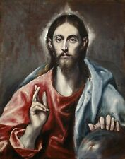 Christ Blessing by Greek Painter El Greco. Fine Art Repro on Canvas or Paper
