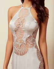 BNWT Agent Provocateur Soiree Romy Silk Dress Gown Blush Silver Lace Slip