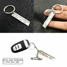Husband Pendant Trucker Key Chains Drive Safe Handsome Keyring Stainless Steel