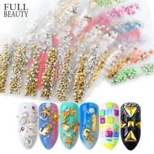 6 Grid/Pack Mixed 3D Metal Rivet Gold Silver Triangle Star Round Studs Nail Art