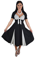 50s Vintage White Black Polka dot Swing Party Formal Prom Dress with Sleeves