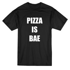Pizza Is Bae Graphic Quote Men's Black T-shirt