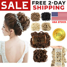 100% Real Messy Bun Hair Extension Ponytail As Human Clip In Curly Natural Piece