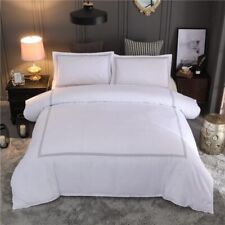 HM LIife Hotel Bedding Set Queen/King Size White Color Embroidered Duvet Cover