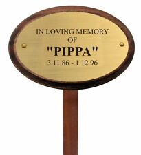 Pet Memorial Brass oval plaque with stake