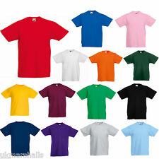 FRUIT OF THE LOOM KIDS T SHIRT - 12 COLOURS ALL AGES