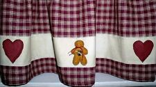 Prim Hearts & Gingerbread Valance*Gingerbread Curtain