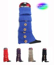 Solid Color Knit LEG WARMERS w/ Button Accents (LW1000)