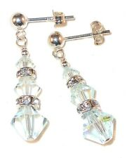 Very LIGHT BLUE AZORE Earrings Sterling Silver Swarovski Crystal Elements