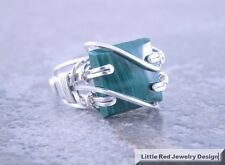 Sterling Silver Wire Wrapped Malachite Square Cabochon Ring