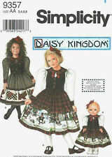 """S 9357 Daisy Kingdom Dress Girl & 18"""" Doll Pattern 3-6 New or 5-8 New or 5-6 Com"""