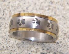 Stainless steel Paw Print spinner ring